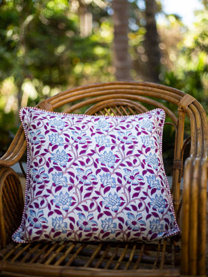 Lavender Bloom Hand Block Print Cotton Cushion Cover (20 Inch) - Pinklay