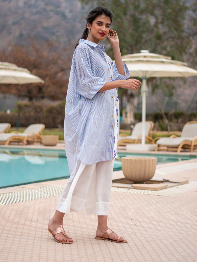Lighthouse Asymmetrical Cotton Long Shirt - Pinklay