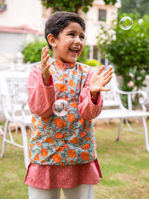 Nihaar Long Kurta Pajama Jacket Set of 3 - Pinklay