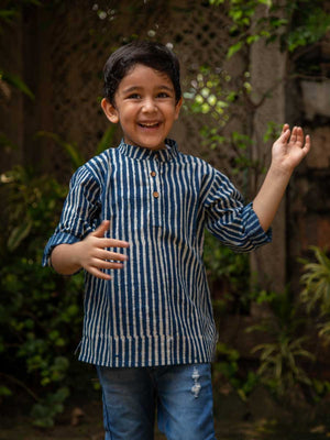 Indigo Stripes Shirt Kurta with Roll Up Sleeves (Short Kurta)