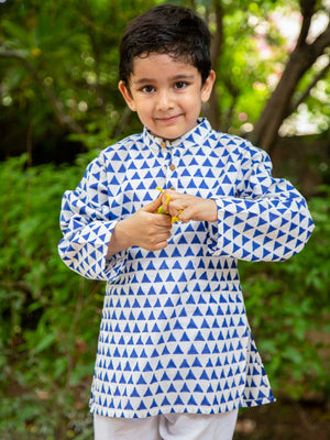Indigo Triangle Organic Cotton Long Kurta - Pinklay