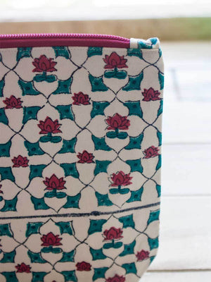 Mahtab Hand Block Print Cotton Travel Pouch Travel Cases