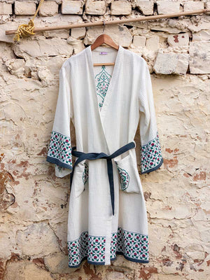 Mahtab Hand Block Print Cotton Bath Robe - Pinklay