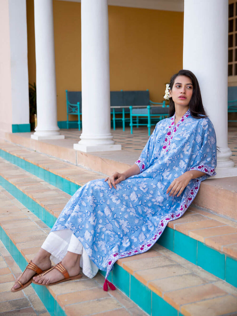 Moonstone Modal Silk Kaftan Dress - Pinklay
