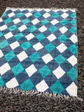 Mosaic Hand Block Print Cotton Dhurrie Rug - Pinklay