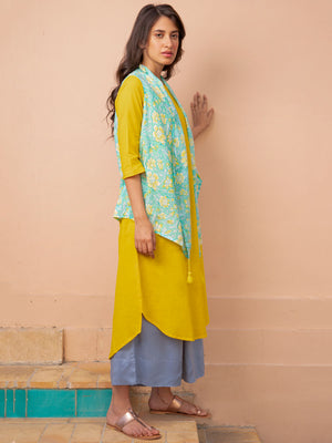 Mustard Field Pintuck Long Kurta with Shrug - Pinklay