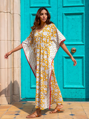 Mustard Fields Printed Cotton Kaftan -Pinklay
