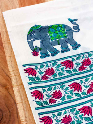 Haathi Hand Block Print Cotton Curtain with Border & Concealed Loops - Pinklay