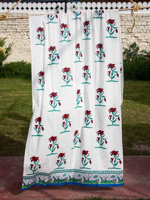 Oonjal Hand Block Print Cotton Curtain with Border & Concealed Loops Curtains