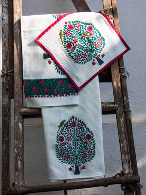 Kalpavriksha Hand Block Print Cotton Bath Towel - Pinklay