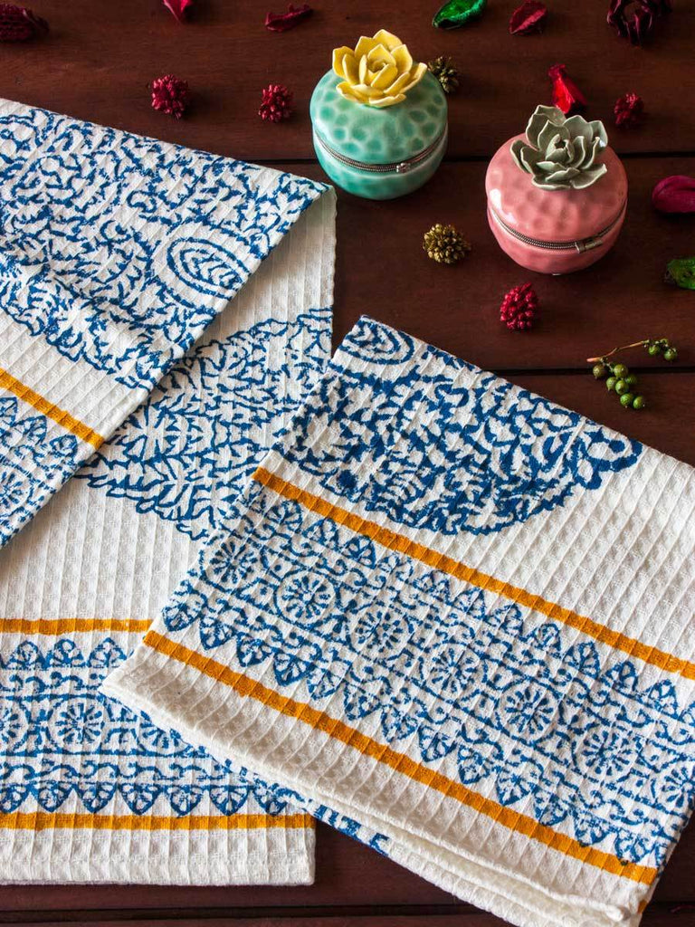 Indigo Hand Block Print Cotton Hand Towels - Set of 2 - Pinklay