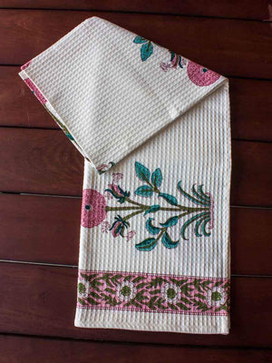 Marigold Hand Block Print Cotton Bath Towel - Pinklay