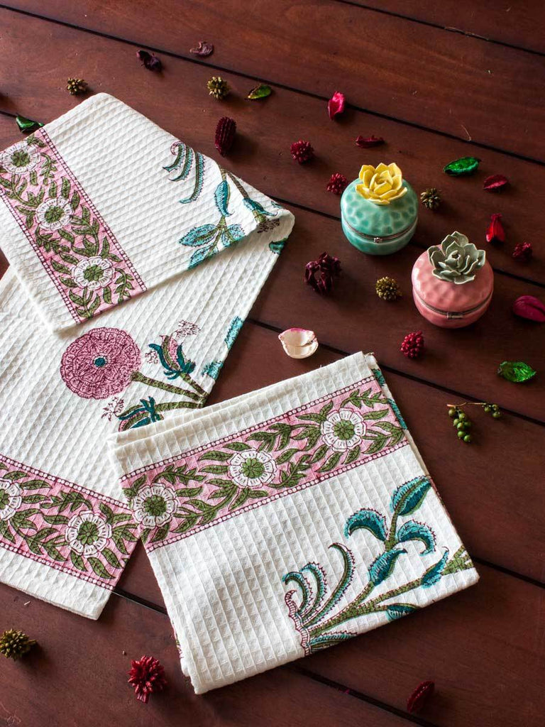 Marigold Hand Block Print Cotton Hand Towels - Set of 2 - Pinklay