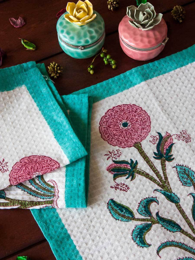Marigold Hand Block Print Cotton Face Towels - Set of 2 - Pinklay