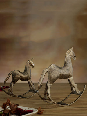 Nickel Plated Hand Etched Metal Rocking Horse - Set of 2 - Pinklay
