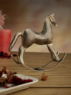 Nickel Plated Hand Etched Metal Rocking Horse - Set of 2 Home Decor