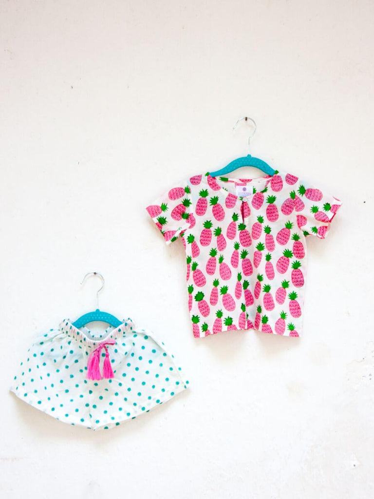 Pineapple Crush Organic Cotton Top & Shorts Set - Pinklay