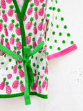 Pineapple Melody Premium Waffle Cotton Bath Robe - Pinklay