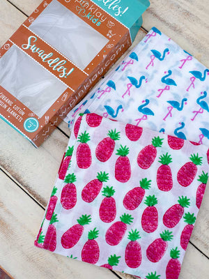 Pineapple Joy Organic Cotton Muslin Swaddles - Pinklay