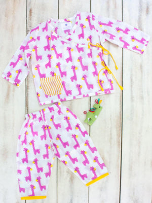 Pink Giraffe Organic Cotton Angrakha Set - Pinklay