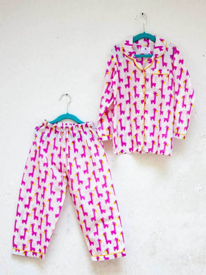 Pink Giraffe Organic Cotton Top & Pyjama Set Kids Clothing