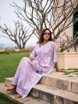 Summer Wine Hand Block Printed Cotton Kaftan