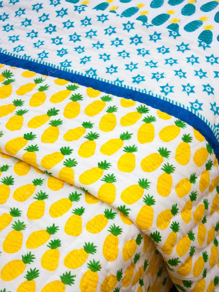 Ananas GOTS Certified Organic Cotton Reversible Single Bed Quilt - Pinklay