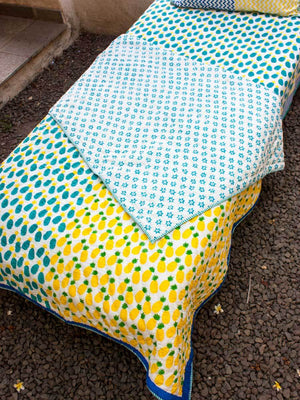Ananas GOTS Certified Organic Cotton Reversible Single Bed Quilt New Kids Collection