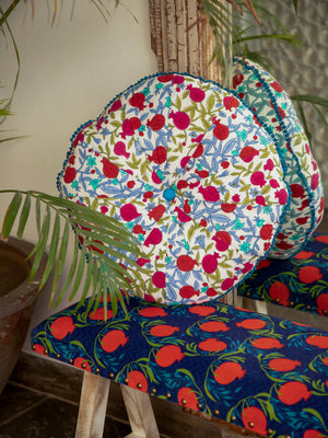 Anar Hand Block Print Pinwheel Cushion - Pinklay