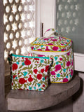 Anar Hand Block Print Cotton Travel Vanity Case and Pouch - Pinklay