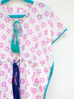 Pink Stars Organic Cotton Kaftan for Kids - Pinklay