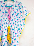 Flamingo Organic Cotton Kaftan for Kids - Pinklay
