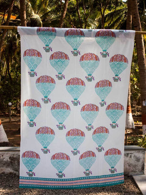 Balloon Hand Block Print Cotton Curtain with Border & Concealed Loops - Pinklay