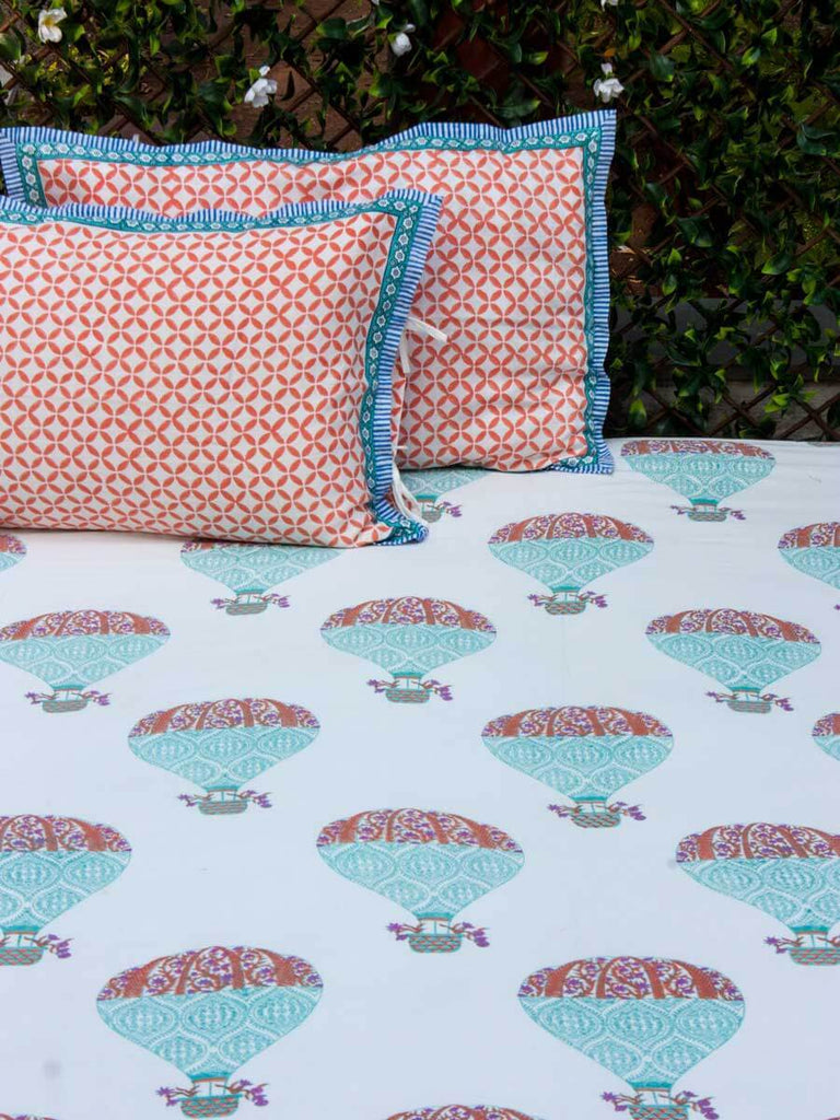 Sky Ride Hand Block Print Cotton Double Bed Sheet Set With 2 Pillow Covers Bed Sheet