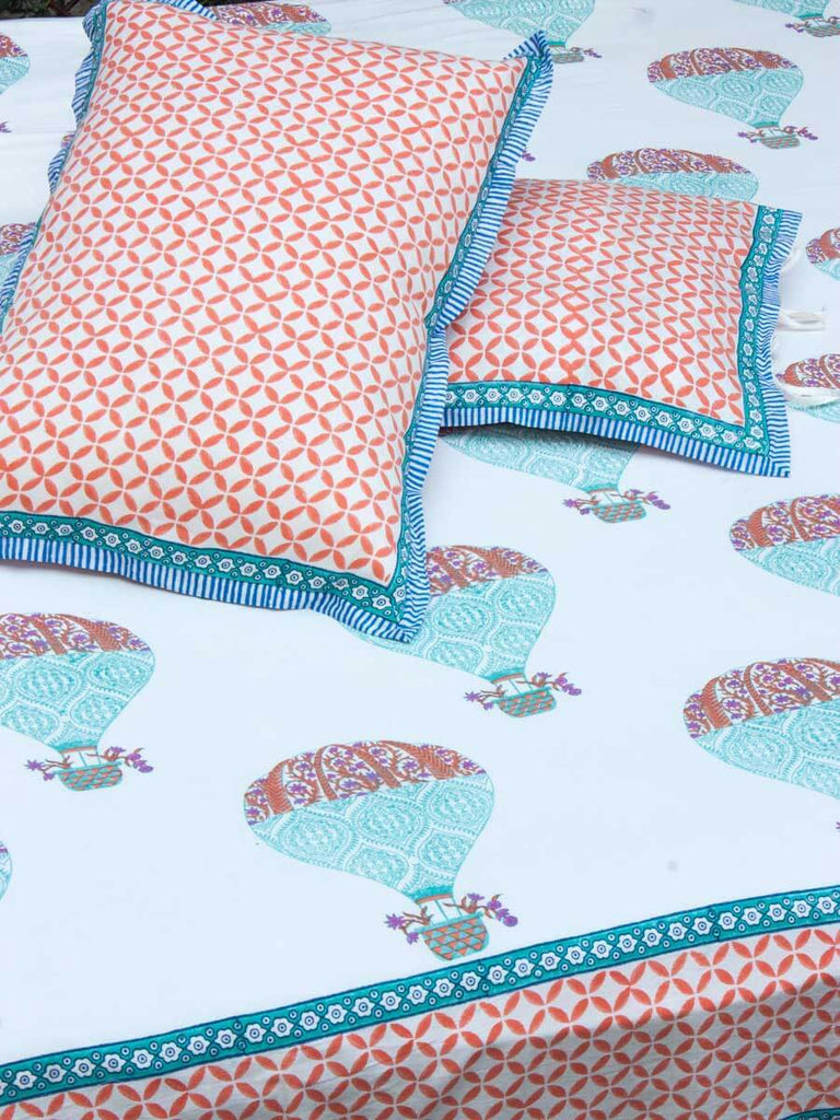 Sky Ride Hand Block Print Cotton Double Bed Sheet Set With 2 Pillow Covers - Pinklay