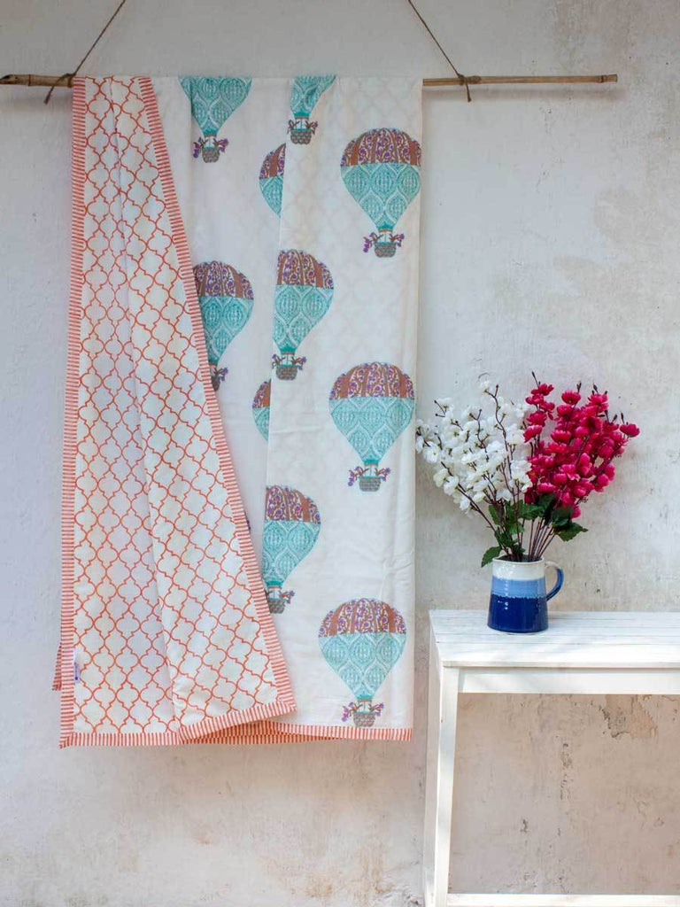 Sky Ride Cotton Muslin Dohar, Hand Block Print Summer Blanket - Pinklay
