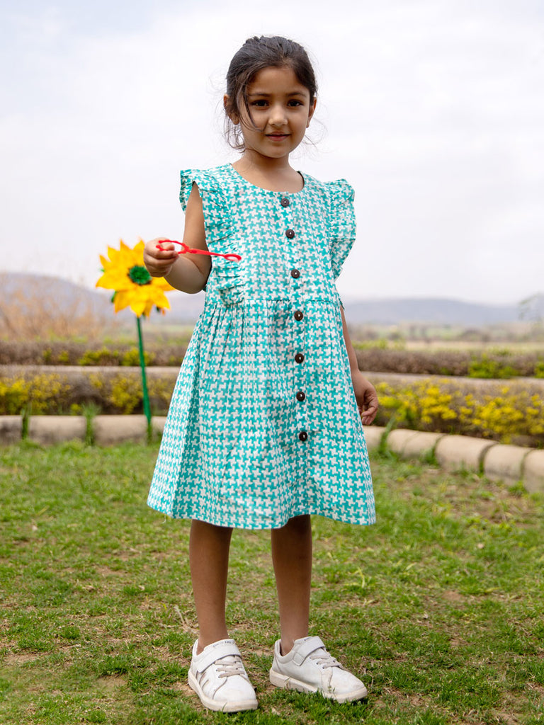 Turquoise Maze Frilled Dress - Pinklay
