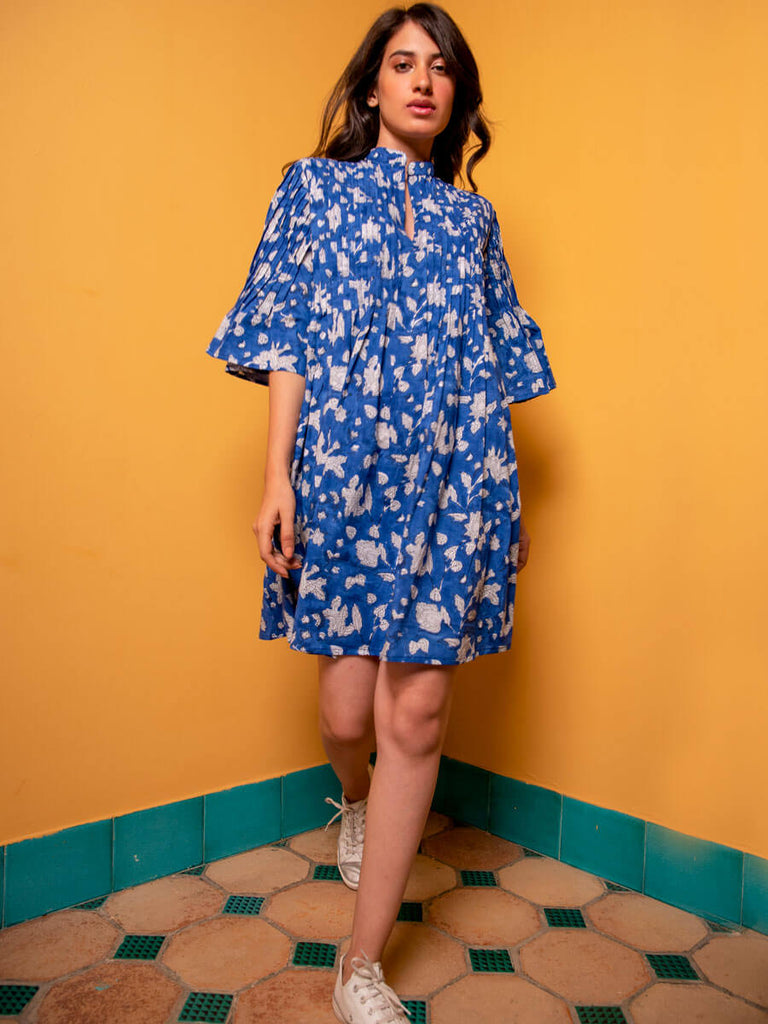 Blue Paradise Cotton Pintuck Dress - Pinklay