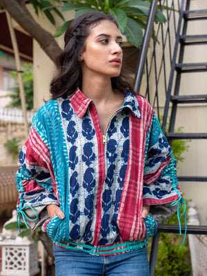 Wild Rhapsody Kantha Embroidered Dabu Bomber Jacket - Pinklay