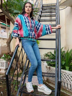 Wild Rhapsody Kantha Embroidered Dabu Bomber Jacket