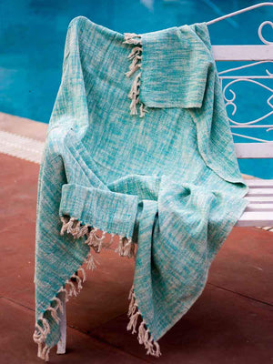 Blue Sky Handwoven Cotton Throw With Tassels - Pinklay
