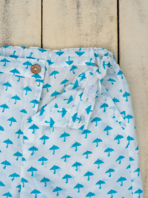 Turquoise Umbrella Organic Cotton Shorts - Pinklay