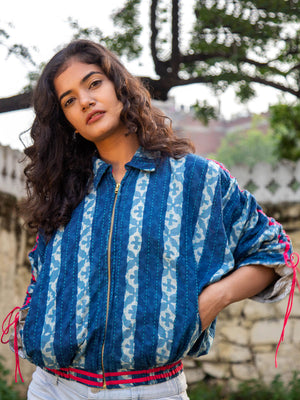 Blue Wave Kantha Embroidered Dabu Bomber Jacket