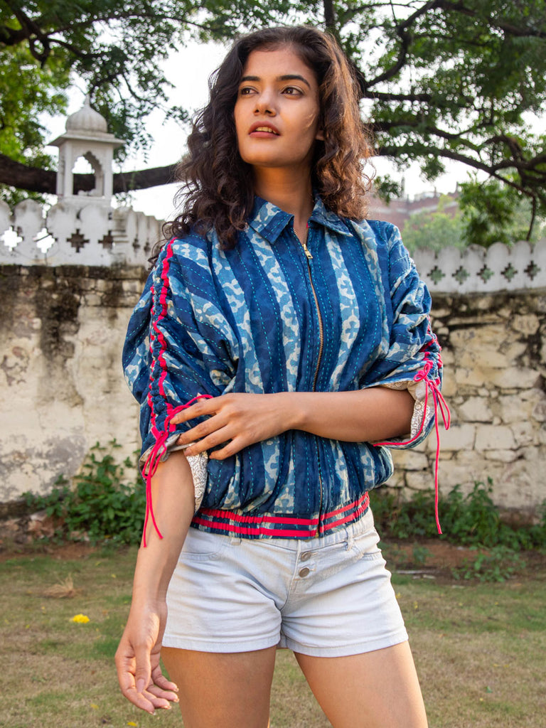 Blue Wave Kantha Embroidered Dabu Bomber Jacket - Pinklay