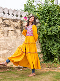 Indian Marigold Quilted Anarkali Jacket Dress - Pinklay