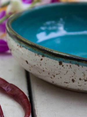 Aqua Uneven Round Ceramic Bowl - Pinklay