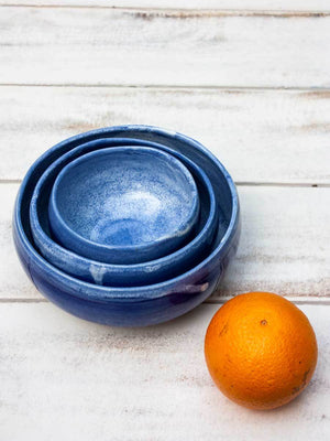 Indigo Artistry Uneven Bowl - Set of 3 Ceramics