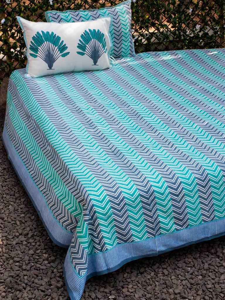 Chevron Hand Block Print Cotton Double Bed Sheet Set With 2 Pillow Covers - Pinklay