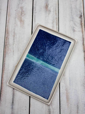 Intense Blue Sky Rectangle Large Platter Ceramics