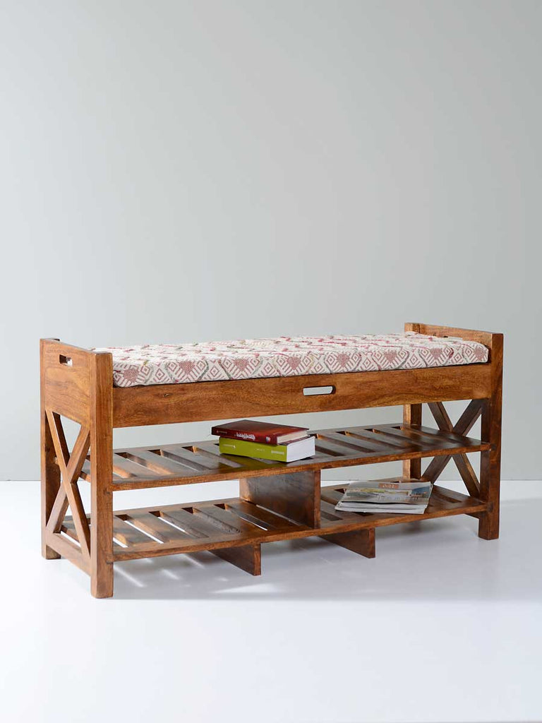 Clyde Acacia Solid Wood Storage Bench With Seat Cushion - Pinklay